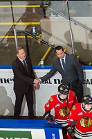 KELOWNA, BC - FEBRUARY 8: Portland Winterhawks' Head Coach and GM, Mike Johnston and Associate Coach and Asst. GM, Kyle Gustafson, shake hands on the win against the Kelowna Rockets at Prospera Place on February 8, 2020 in Kelowna, Canada. (Photo by Marissa Baecker/Shoot the Breeze)