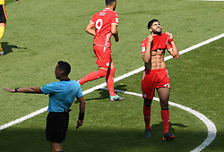 MOSCOW, June 23, 2018  Ferjani Sassi (R) of Tunisia reacts after missing a goal during the 2018 FIFA World Cup Group G match between Belgium and Tunisia in Moscow, Russia, June 23, 2018. (Credit Image: © Wang Yuguo/Xinhua via ZUMA Wire)