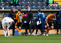 Hull City's Keane Lewis-Potter is congratulated by Hull City manager Grant McCann as he is substituted in the 73rd minute with Josh Magennis replacing him<br /> <br /> Photographer Lee Parker/CameraSport<br /> <br /> The EFL Sky Bet League One - Hull City v Oxford United - Saturday 13th March 2021 - KCOM Stadium - Kingston upon Hull<br /> <br /> World Copyright © 2021 CameraSport. All rights reserved. 43 Linden Ave. Countesthorpe. Leicester. England. LE8 5PG - Tel: +44 (0) 116 277 4147 - admin@camerasport.com - www.camerasport.com