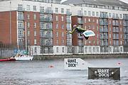 Irish professional wakeboarder David O'Caoimh at Wakesock on 06th April 2017 in Dublin, Republic of Ireland. Wakedock is Irelands first cable wakeboard park at Grand Canal Dock. Dublin is the largest city and capital of the Republic of Ireland.
