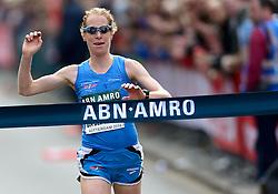 13-04-2014 NED: Marathon van Rotterdam<br /> Ruth van der Meijden komt als eerste Nederlandse over de finish in 2.35.54 en plaatst zich voor het EK
