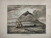 Machine colorized (AI) Peak of Teneriffe [Tenerife] Mount Teide is a volcano on Tenerife in the Canary Islands, Spain. From The merchant vessel : a sailor boy's voyages to see the world [around the world] by Nordhoff, Charles, 1830-1901 engraved by C. LaPlante; some illustrations by W.L. Wyllie Publisher New York : Dodd, Mead & Co. 1884