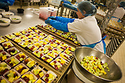 "A lady employee of the world's largest independent provider of airline catering and provisioning services, Gate Gourmet, reaches out to add the last items to fresh fruit salads in the company's factory on the southern perimeter road at Heathrow Airport, West London. Gate Gourmet serve more than 200 million meals on 2 million airline flights a year to their 250-plus airline customers at more than 100 airport locations around the globe. Apart from creating the bespoke meals for an airline's culture and ethnic demands, that pack the pre-flight carts, deliver and load into the aircraft galleys and afterwards, they dispose of the waste and strip, wash and sterilize the equipment. From writer Alain de Botton's book project ""A Week at the Airport: A Heathrow Diary"" (2009). ."