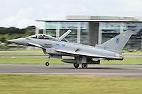 FARNBOROUGH - JULY 13: Royal Air Force Eurofighter Typhoon FGR4 at the Farnborough International Airshow, Farnborough Airport, UK. July 13, 2012. (Photo by Richard Goldschmidt)