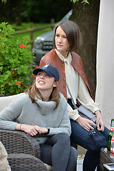 Louise Harvey and Justine Flatley at Young Guns raising money for the fight against breast cancer trough Cancer Research UK held at EJ Churchill Shooting School followed by lunch at West Wycombe Park, England. 23 September 2017.