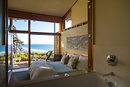 """Neahkahnie Beach in Manzanita, Oregon, a small beach town located in Tillamook County on the Northern Oregon coast.  Manzanita means """"little apple"""" in Spanish.  Neahkahnie Mountain is located at the north end of the 7 mile long beach.  Room 2 at the Awtrey house, designed by architect James Culter"""