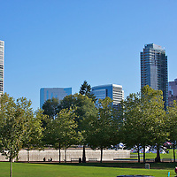 Bellevue downtown park during a brilliant sunday morning