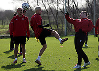 Photo: Paul Thomas.<br />Manchester United training session. UEFA Champions League. 06/03/2007.<br />Man Utd's Wayne Rooney (R) and Alan Smith (L) during training.