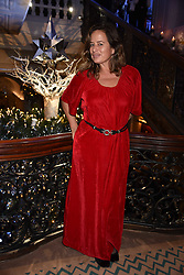 Jade Jagger at reception to celebrate the launch of the Claridge's Christmas Tree 2017 at Claridge's Hotel, Brook Street, London England. 28 November 2017.<br /> Photo by Dominic O'Neill/SilverHub 0203 174 1069 sales@silverhubmedia.com
