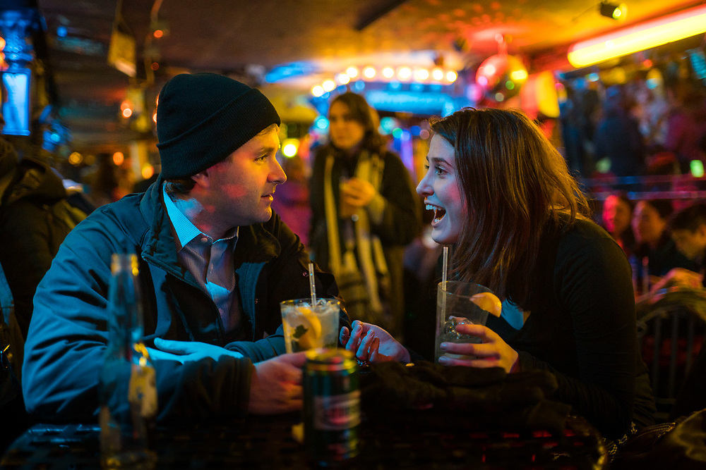 MANHATTAN, NY - JANUARY 22, 2016: Tony Caputo, left, and Jenna Kusek, chats over drinks at 169 Bar in Chinatown. CREDIT: Emon Hassan for The New York Times