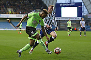 Lys Mousset of Bournemouth crossing the ball. The Emirates FA Cup 3rd round match, Millwall v AFC Bournemouth at The Den in London on Saturday 7th January 2017.<br /> pic by John Patrick Fletcher, Andrew Orchard sports photography.