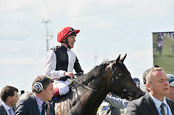 FRANKIE DETTORI on Derby winner Golden Horn at the Investec Derby 2015 at Epsom Racecourse, Epsom, Surrey on 6th June 2015.