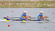 Marathon, GREECE,  UKR W2X, Bow, Kateryna TARASENKO and Yana DEMENTIEVA,  winning the final of the women's double sculls at the FISA European Rowing Championships.  Lake Schinias Rowing Course, SAT. 20.09.2008  [Mandatory Credit Peter Spurrier/ Intersport Images] , Rowing Course; Lake Schinias Olympic Rowing Course. GREECE