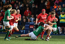 Wales'  Alisha Butchers breaking through Ireland defence<br /> Wales Women v Ireland Women<br /> Guinness Six Nations 2019<br /> Cardiff Arms Park<br /> <br /> Photographer Mike Jones/Replay Images<br /> <br /> Guinness Six Nations 2019<br /> Cardiff Arms Park<br /> Cardiff.<br /> 17th March 2019<br /> <br /> World Copyright © Replay Images . All rights reserved. info@replayimages.co.uk - http://replayimages.co.uk
