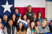 Democratic presidential candidate Hillary Clinton speaks at Mountain View College in Dallas, Texas.  (Photo by Cooper Neill for The Texas Tribune)