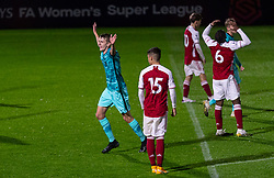 LONDON, ENGLAND - Friday, October 30, 2020: Liverpool's Tom Clayton celebrates after scoring the only goal of the game during the Premier League 2 Division 1 match between Arsenal FC Under-23's and Liverpool FC Under-23's at Meadow Park. Liverpool won 1-0. (Pic by David Rawcliffe/Propaganda)