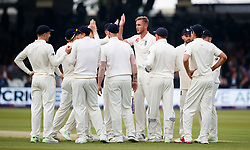England's Stuart Broad celebrates the wicket of Pakistan's Imam ul-Haq for 4 during day one of the First NatWest Test Series match at Lord's, London.
