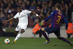 February 6, 2019 - Barcelona, Barcelona, Spain - Vinicius Junior of Real Madrid shooting to goal during the Spanish Cup (King's cup), first leg semi-final match between FC Barcelona and  Real Madrid at Camp Nou stadium on February 6, 2019 in Barcelona, Spain. (Credit Image: © Jose Breton/NurPhoto via ZUMA Press)
