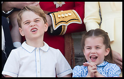 June 8, 2019 - London, London, United Kingdom - Image licensed to i-Images Picture Agency. 08/06/2019. London, United Kingdom. Prince George and Princess Charlotte  on the balcony of Buckingham Palace at Trooping the Colour in London. (Credit Image: © Stephen Lock/i-Images via ZUMA Press)