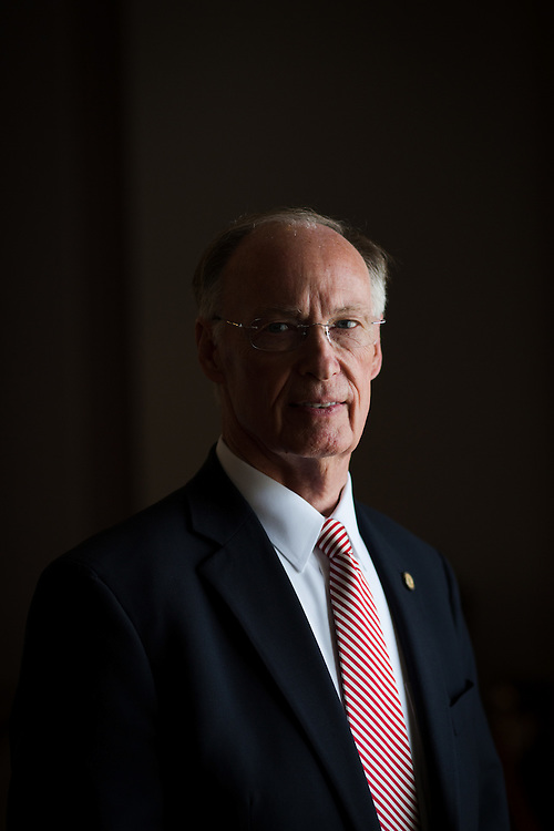 Alabama Gov. Robert Bentley poses for a portrait in the old house chamber in Montgomery, Ala. on Wednesday, March 9, 2016. Shot for a story about how legislatures are dealing with Confederate symbols. Some have passed laws to protect these symbols (monuments, statues, etc.), which have come under scrutiny and vandalism following the shootings last year at Emanuel A.M.E. Church in Charleston. Photo by Kevin D. Liles for The New York Times