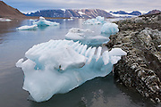 Grooves on the underside of an iceberg calved by Hansbreen, formed by sliding of the glacier on its bed, in Hornsund, Svalbard.