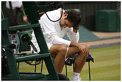 © Licensed to London News Pictures. 12/07/2015. London, UK. <br /> Novak Djokovic (SRB) beats Roger Federer (SUI)  in the mens finals of the Wimbledon Tennis Championships in London today<br /> Photo credit: LNP
