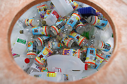 Plastic bottle bank at the Tipsmart recycling centre at Calverton,