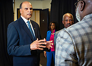 Chancellor Harold L. Martin Sr., left chats with master communicator, multidimensional businessman and international thought leader T.D. Jakes before the North Carolina Agricultural and Technical State University's spring Chancellor's Speaker Series on Thursday, April 11, 2019.<br /> <br /> (Chris English/Tigermoth Creative)