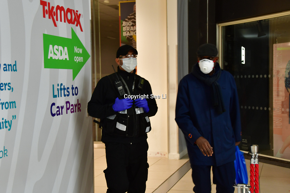 During the coronavirus in UK lockdown seen a Security Guard, at Walthamstow Shopping mall,on 28 March 2020 London.