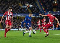 Football - 2017 / 2018 UEFA Champions League - Group C: Chelsea vs. Atletico Madrid<br /> <br /> Eden Hazard (Chelsea FC)  prepares to cut inside of Filipe Luis (Atletico Madrid) at Stamford Bridge.<br /> <br /> COLORSPORT/DANIEL BEARHAM