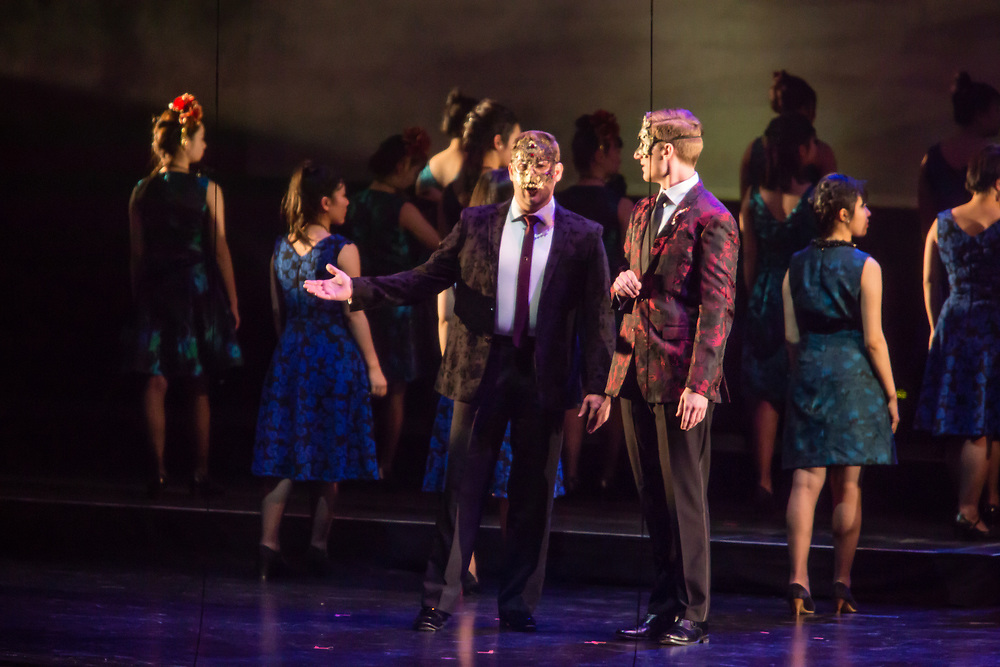 Alex Richardson as Alfredo and Brett Pardue as Gastone in Verdi'a La Traviata in the Philharmonia Orchestra's production at the Rose Theater at Jazz at Lincoln Center.