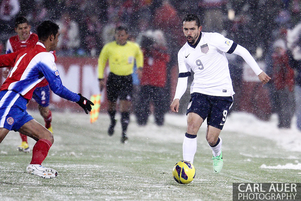 March 22nd, 2013 Commerce City, CO - U.S. National Soccer forward Herculez Gomez (9) brings the ball up the field during first half action in the World Cup qualifying match between Costa Rica and the USA Men's National Team at Dick's Sporting Goods Park in Commerce City, CO