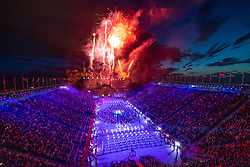 Edinburgh, Scotland, UK. 5 August, 2019. The 2019 Royal Edinburgh Military Tattoo, this year entitled Kaleidoscope, performed every night on the esplanade at Edinburgh Castle. This is the Tattoo's 69th year and it runs from 2-24 August. Pictured; Fireworks over Edinburgh Castle at the finale of the Tattoo.   Iain Masterton/Alamy Live News.