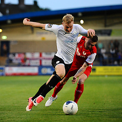 TELFORD COPYRIGHT MIKE SHERIDAN Chris Lait and Correy Davidson during the National League North fixture between AFC Telford United and Kidderminster Harriers on Tuesday, August 6, 2019.<br /> <br /> Picture credit: Mike Sheridan<br /> <br /> MS201920-006