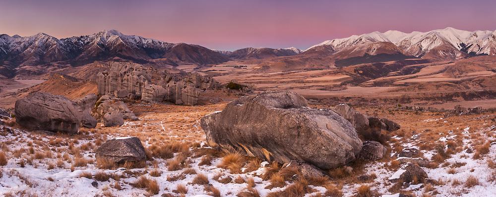 Craigieburn & Torlesse ranges, winter panorama from Flock Hill