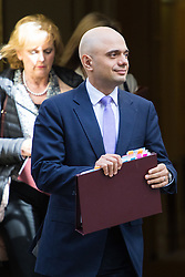 Downing Street, London, April 12th 2016. State for Business Secretary Sajid Javid leaves the weekly cabinet meeting. <br /> ©Paul Davey<br /> FOR LICENCING CONTACT: Paul Davey +44 (0) 7966 016 296 paul@pauldaveycreative.co.uk