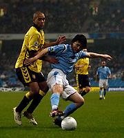 Photo: Jed Wee.<br /> Manchester City v Aston Villa. The FA Cup. 14/03/2006.<br /> <br /> Manchester City's Sun Jihai (R) keeps Aston Villa's Luke Moore at bay.