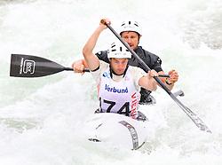 27.06.2015, Verbund Wasserarena, Wien, AUT, ICF, Kanu Wildwasser Weltmeisterschaft 2015, C2 men, im Bild v.l. Martin Schusser, Dominik Scherwitzl (AUT) // during the final run in the men's C2 class of the ICF Wildwater Canoeing Sprint World Championships at the Verbund Wasserarena in Wien, Austria on 2015/06/27. EXPA Pictures © 2014, PhotoCredit: EXPA/ Sebastian Pucher