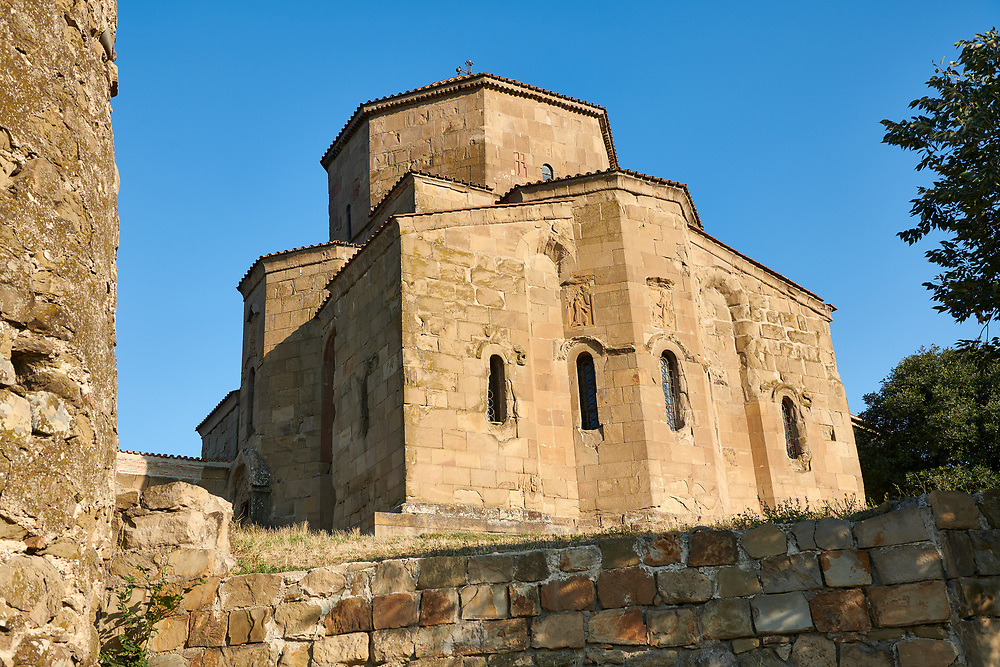 Pictures & images of Jvari Monastery, a 6th century Georgian Orthodox monastery near Mtskheta, eastern Georgia. A UNESCO World Heritage Site.<br /> <br /> The Jvari church is an early example of a four apse church with four niches domed tetraconch. The Jvari church had a great impact on the further development of Georgian architecture and served as a model for many other churches.<br /> <br /> The Historical Monuments of Jvari Monastery Mtskheta is located in the cultural landscape overlooking the confluence of the Aragvi and Mtkvari Rivers, in Central-Eastern Georgia, some 20km northwest of Tbilisi. .<br /> <br /> Visit our MEDIEVAL PHOTO COLLECTIONS for more   photos  to download or buy as prints https://funkystock.photoshelter.com/gallery-collection/Medieval-Middle-Ages-Historic-Places-Arcaeological-Sites-Pictures-Images-of/C0000B5ZA54_WD0s<br /> <br /> Visit our REPUBLIC of GEORGIA HISTORIC PLACES PHOTO COLLECTIONS for more photos to browse, download or buy as wall art prints https://funkystock.photoshelter.com/gallery-collection/Pictures-Images-of-Georgia-Country-Historic-Landmark-Places-Museum-Antiquities/C0000c1oD9eVkh9c