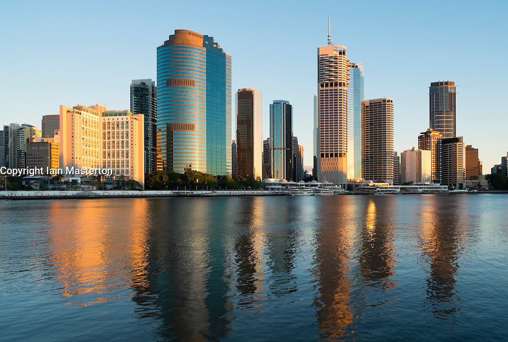 Sunrise view of skyline of central business district of Brisbane in Queensland Australia