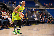 Aerial Powers of the Dallas Wings shoots a three-pointer against the Connecticut Sun during a WNBA preseason game in Arlington, Texas on May 8, 2016.  (Cooper Neill for The New York Times)