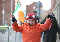 Brandon Daly, 6, from Naas, Kildare, at the centenary Easter Rising Parade at Cuffe Street in Dublin. Picture credit; Damien Eagers 27/3/2016
