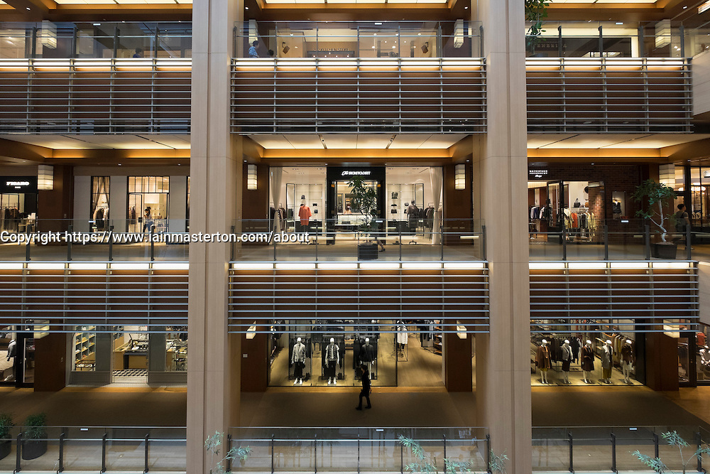 View of shopping mall at Tokyo Midtown property development in Roppongi Hills Tokyo Japan