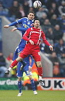 Photo: Steve Bond/Richard Lane Photography. Leicester City v Leyton Orient. Coca Cola League One. 10/01/2009. Adam Boyd (front) is beaten in the air by Aleksandar Tunchev (back)