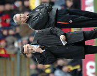 Photo: Tony Oudot.<br />Watford v Charlton Athletic. The Barclays Premiership. 03/03/2007.<br />Managers Aidy Boothroyd and Alan Pardew look dejected as neither teams come up with a needed win