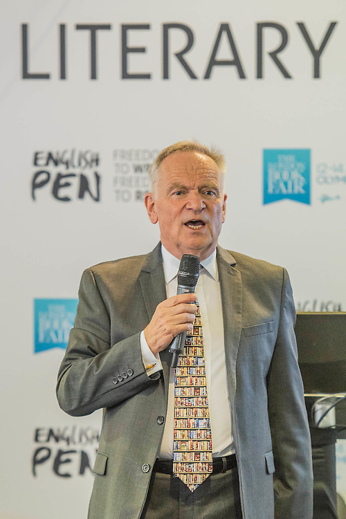 Lord Archer speaks at the English PEN Literary Salon - The London Book Fair, celebrating its 45 year anniversary, is the global marketplace for rights negotiation and the sale and distribution of content across print, audio, TV, film and digital channels. Staged annually, LBF sees more than 25,000 publishing professionals arrive in London for the week of the show to learn, network and kick off their year of business. The London Book Fair sits at the heart of London Book & Screen Week, and runs from the 12-14 April 2016.
