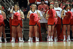 14 February 2015:   Redbird Cheerleaders sport new uniforms and pink poms during an NCAA MVC (Missouri Valley Conference) men's basketball game between the Wichita State Shockers and the Illinois State Redbirds at Redbird Arena in Normal Illinois