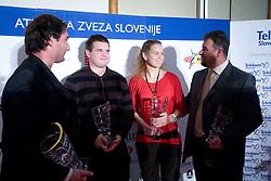 Primoz Kozmus, Tomaz Bogovic, Barbara Spiler and Vladimir Kevo at Best Slovenian athlete of the year ceremony, on November 15, 2008 in Hotel Lev, Ljubljana, Slovenia. (Photo by Vid Ponikvar / Sportida)