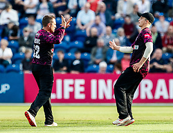 Roelof van der Merwe of Somerset celebrates taking the wicket of Jeremy Lawlor of Glamorgan<br /> <br /> Photographer Simon King/Replay Images<br /> <br /> Vitality Blast T20 - Round 1 - Glamorgan v Somerset - Thursday 18th July 2019 - Sophia Gardens - Cardiff<br /> <br /> World Copyright © Replay Images . All rights reserved. info@replayimages.co.uk - http://replayimages.co.uk
