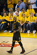 Cleveland Cavaliers forward LeBron James (23) reacts to missing a jump shot against the Golden State Warriors during Game 5 of the NBA Finals at Oracle Arena in Oakland, Calif., on June 12, 2017. (Stan Olszewski/Special to S.F. Examiner)